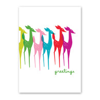 Colorful Reindeers Holiday Card