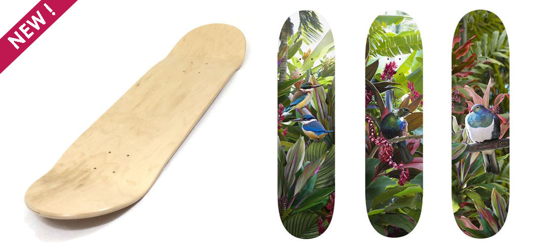 nz bird art skatedecks, new zealand skatedeck art, nz printed skateboards, lucy g bird art, lucy g art prints, art prints nz, tui skateboard