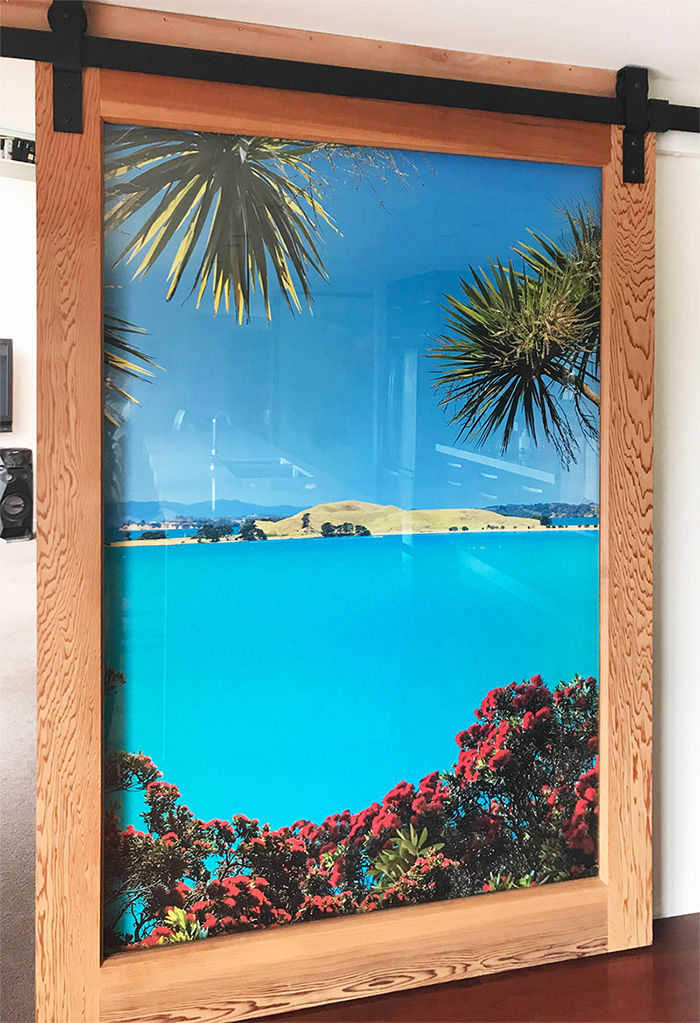 New Zealand landscape photograph large custom printed wallpaper vinyl mural with blue sea and Pohutukawa