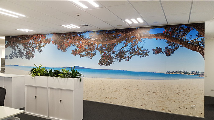 Printed photo wallpaper vinyl mural with Rangitoto, blue sea and Pohutukawa, Auckland, New Zealand landscape photograph