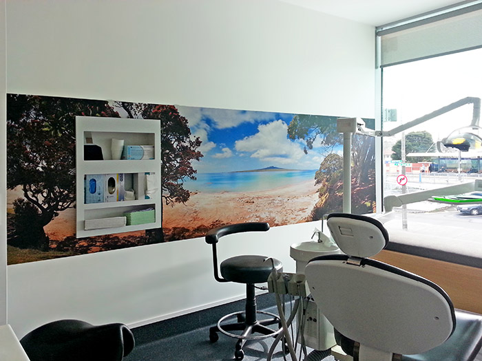Rangitoto wallpaper photo vinyl mural featuring blue sea, sand and Pohutukawa