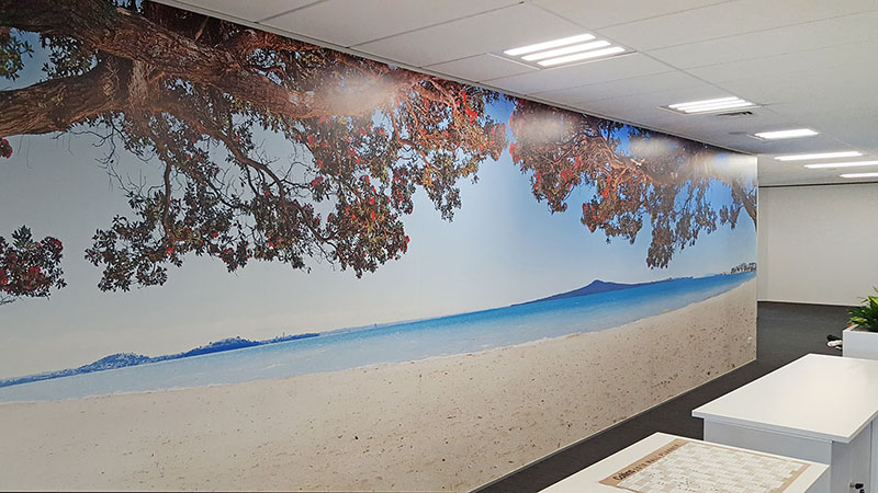 Auckland, New Zealand landscape photograph of Rangitoto, large custom printed wallpaper vinyl mural with blue sea and Pohutukawa