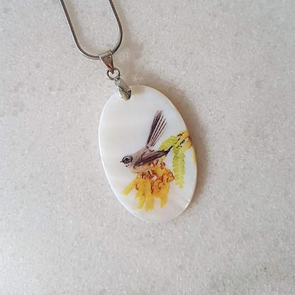 Fantail on Kowhai pendant necklace