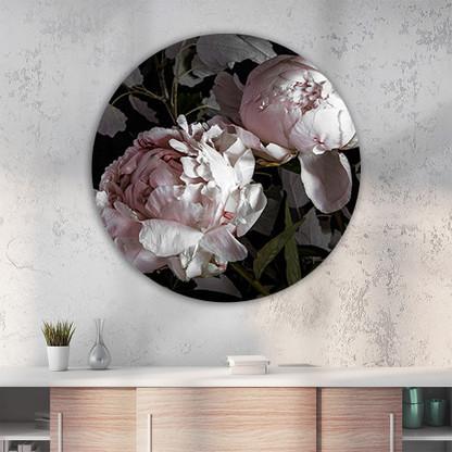 ''Peony 1'' circular aluminium wall art - indoor OR outdoor art