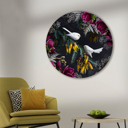 White Fantail / Piwakawaka - ''Midnight Serenade'' circular wall art