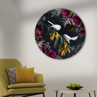 White Fantail / Piwakawaka - ''Midnight Serenade'' circular wall art