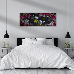 White fantail artwork above bed