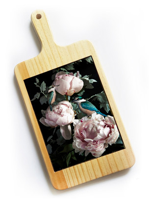 Kingfisher and Peony cheeseboard