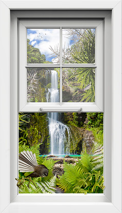 Fantail Falls window frame art canvas