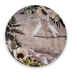 Circular art tile NZ Kotuku  /White Heron