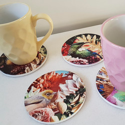 11cm circular ceramic printed coasters with NZ birds & floral background