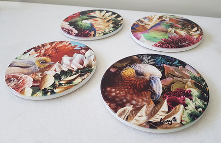20cm circular ceramic printed wall art tiles with NZ birds & floral background
