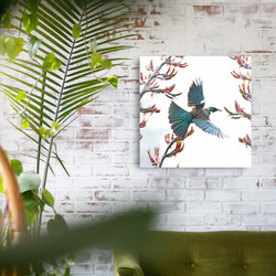 **SPECIAL**  $100 OFF -'THE FLYING TUI' - 50x50cm - NZ Tui bird printed glass wall art
