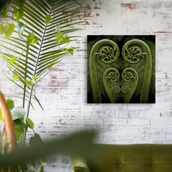 Fern frond / koru glass wall art