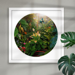 'Earthly Delights' featuring a NZ flying Tui in tropical setting -round New Zealand art print in white frame.