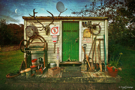 Blokes Shed' - old NZ Blokes Shed photograph, Kiwiana NZ art print for sale by Lucy G.