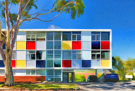 Paora Apartments' - Orakei, Auckland, one of Kenneth Albert's modernist apartment blocks, art print for sale.