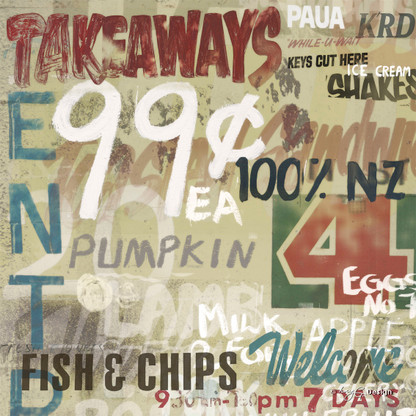 A fun Kiwiana collage featuring Tip Top icecream and fish & chips, NZ art print for sale.