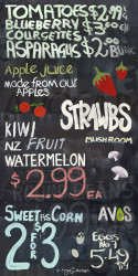 A fun NZ Kiwiana photo art collage on a blackboard featuring fruit & veges, art print for sale.