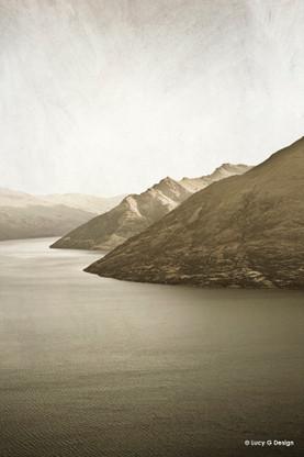 Lake Wakatipu, Queenstown, New Zealand, sepia landscape photo art print for sale.