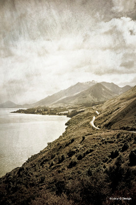 Road to Glenorchy, Queenstown, New Zealand, sepia landscape photo art print for sale.