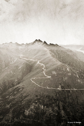 Queenstown mountains, New Zealand - black and white aerial landscape photograph