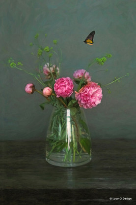 Peony flowers with butterfly, still like photograph /NZ wall art print for sale by Lucy G.