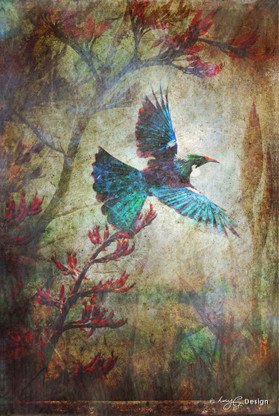 Flying NZ Tui & flax flowers, photo collage art print for sale.