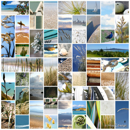 Kiwiana NZ photo art collage print featuring beachscapes, sand, flax -art print for sale.
