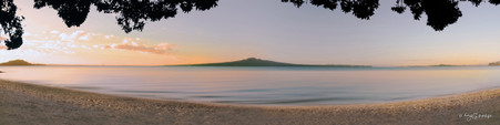 Rangitoto / Pohutukawa sunset landscape photograph from Mission Bay, Auckland, NZ -print for sale.