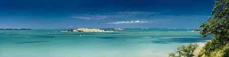 Brown's Island viewed over aqua blue water, landscape photo from St. Heliers, Auckland.