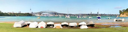 Little Shoal Bay, North Shore, Auckland, NZ - Harbour Bridge & dinghy view from Little Shoal Bay beach.