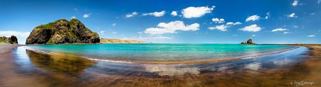 Whatipu, Manukau Harbour,  Auckland, NZ showing Paratutae Island and Ninepin Rock  -landscape print for sale.