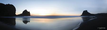 Piha Sunset, Lion Rock, Auckland, New Zealand - landscape photography print for sale.
