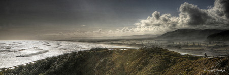 Muriwai, West Coast, Auckland, NZ, stormy view of Muriwai Beach - landscape photo print for sale.