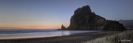 Lion Rock, West Coast, Auckland, NZ,  sunset beach & seascape - landscape photo print for sale.