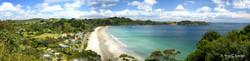 Onetangi Beach, Waiheke Island, NZ - panoramic landscape photo print for sale by Lucy G