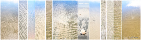 Sand photo print collage for sale featuring close up photos of sand textures by Lucy G