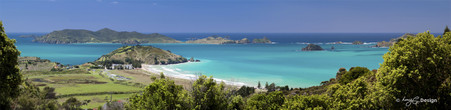 Matauri Bay, Whangaroa, NZ looking over Cavilli Passage to Motukawanui Island & Motukawaiti Island