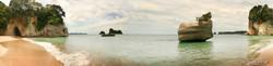 Cathedral Cove, Coromandel, showing Te Whanganui-A-Hei, Moturoa Island, Poikeke Island & Motueka Island.