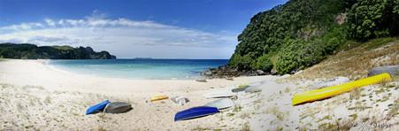 Onemana Beach, Coromandel, NZ, showing beach and sand - landscape photo print for sale.