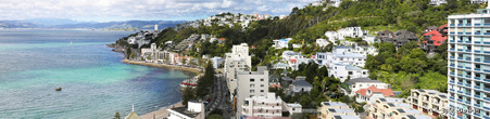 Oriental Bay, Wellington City, NZ, cliff view from Mt Victoria - landscape photo print for sale.