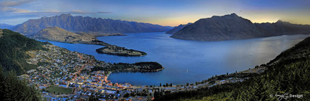 Queenstown City night view from Skyline  - panoramic landscape photo art print for sale