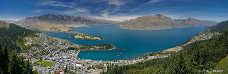 Queenstown City day view from Skyline  - panoramic landscape photo art print for sale