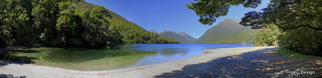 Milford lake, Fiordland National Park, NZ - panoramic landscape photo art print for sale