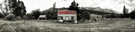 Old derelict house, Glenorchy, NZ - panoramic landscape photo art print for sale.