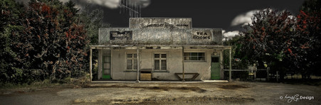 Old derelict tea rooms, Queenstown, Te Anau - panoramic landscape photo art print for sale.