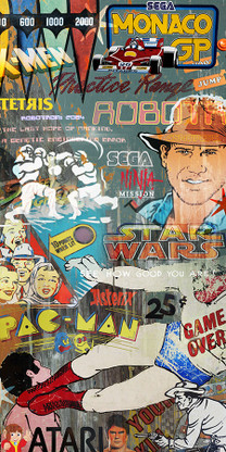 Retro arcade game pop art graffiti collage  featuring Pac Man, Asterix, Sega ... - canvas wall art print for sale