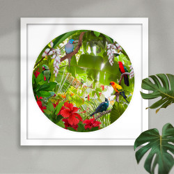 Tropical birds circular art framed