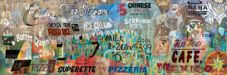 Food themed text & signage canvas wall art collage featuring soda stream, burgers, cafe, mexican - print for sale.